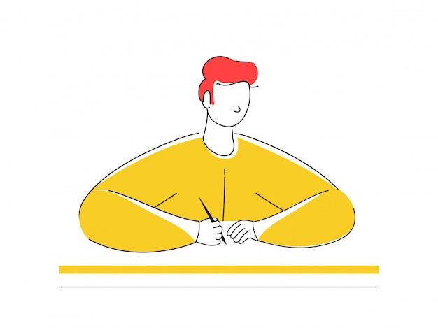 Dessin animé écrivain homme tenant un stylo.