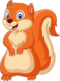 Dessin animé écureuil heureux