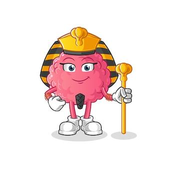 Dessin animé de l'egypte ancienne du cerveau. mascotte de dessin animé