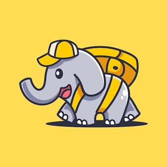 Dessin animé éléphant marchant avec sac