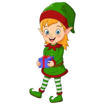 Dessin animé elfe de noël tenant un cadeau