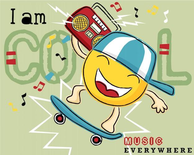 Dessin animé d'émoticône sur une planche à roulettes avec un magnétophone à cassette