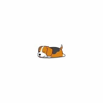 Dessin animé endormi mignon chiot beagle
