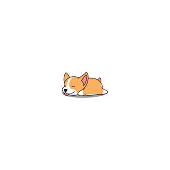 Dessin animé endormi mignon chiot corgi gallois