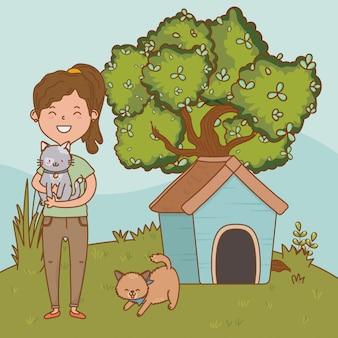 Dessin animé enfant heureux enfance