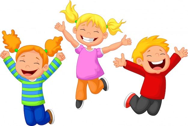 Dessin animé enfant heureux