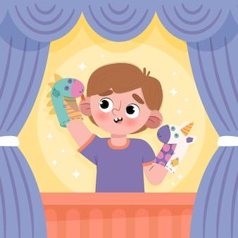 Dessin animé enfant jouant avec des marionnettes à main