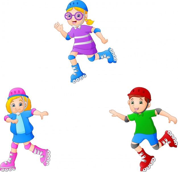 Dessin animé enfant jouant des patins à roulettes