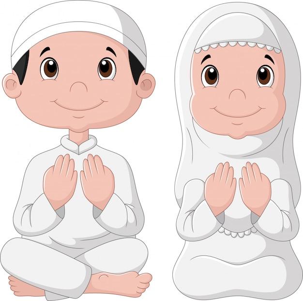 Dessin animé enfant musulman