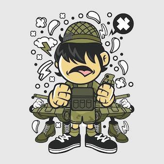 Dessin animé enfant soldat