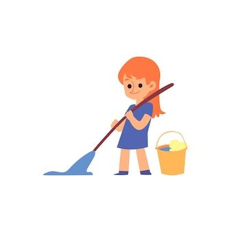 Dessin animé enfant tenant un balai et une vadrouille nettoyant le sol