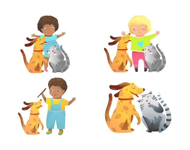Dessin animé enfantin drôle avec deux enfants d'âge préscolaire et leurs animaux de compagnie.