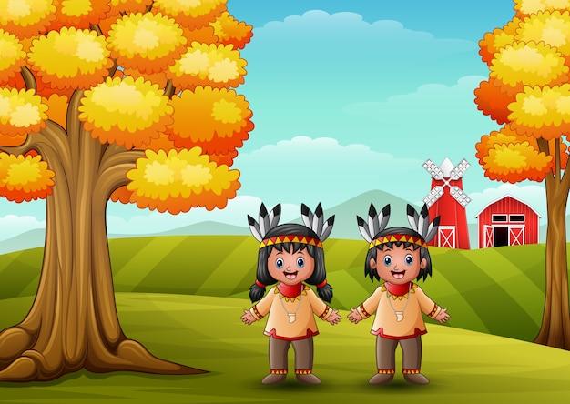 Dessin animé enfants amérindien américain dans le fond de la ferme
