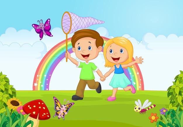 Dessin animé enfants attraper papillon dans la jungle