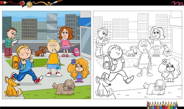Dessin animé, enfants, et, chiens, groupe, livre coloration, page