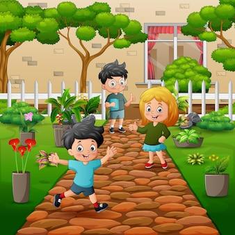Dessin animé les enfants dans l'illustration du parc