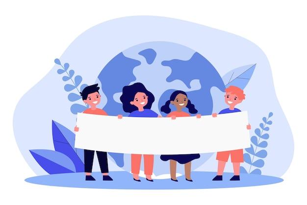 Dessin animé d'enfants de différentes nationalités et races