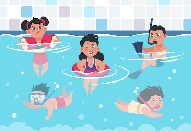 Dessin animé enfants heureux dans une piscine