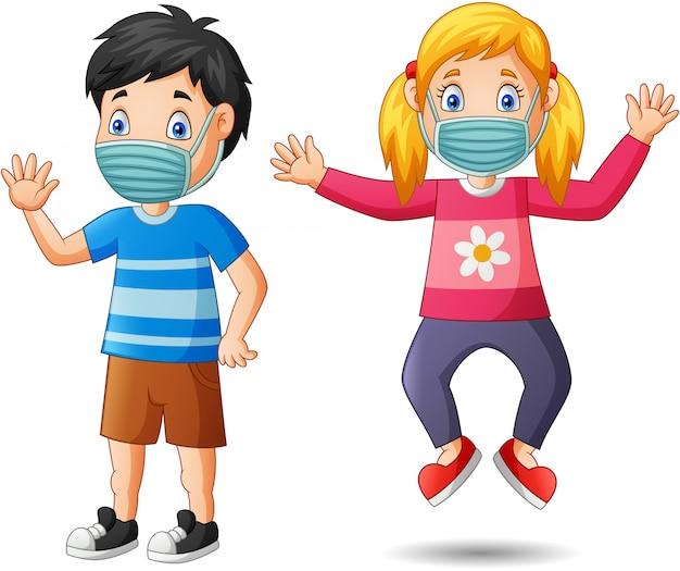 Dessin Animé Enfants Heureux Porter Un Masque De Protection Contre ...