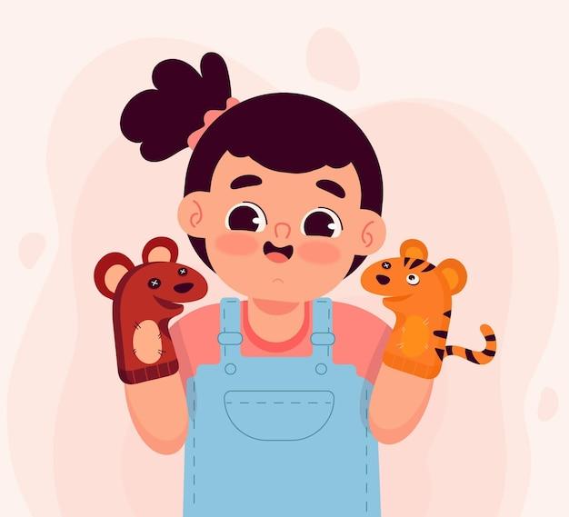 Dessin animé enfants jouant avec des marionnettes à main