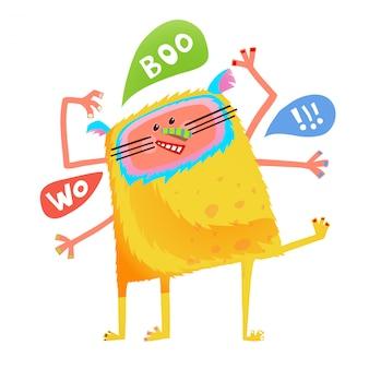Dessin animé enfants monstre parlant fou jaune