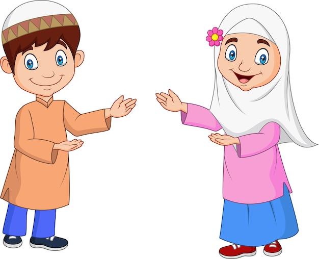 Dessin animé enfants musulmans heureux