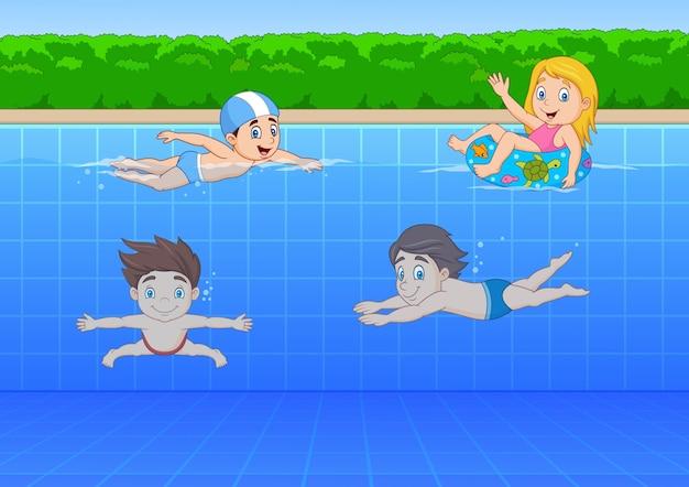 Dessin animé enfants nageant dans la piscine