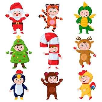 Dessin animé enfants portant des costumes de noël carnaval fête renne pingouin costumes vector set