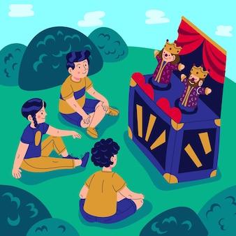 Dessin animé enfants regardant un spectacle de marionnettes