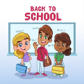 Dessin animé, enfants, retour école