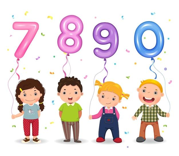 Dessin animé enfants tenant des ballons en forme de nombre