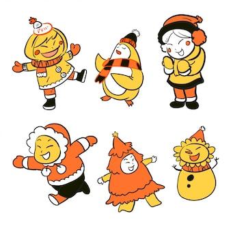 Dessin animé enfants vacances hiver illustration