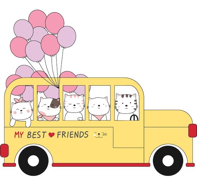 Dessin animé esquisse les animaux mignons sur le bus scolaire. style dessiné à la main.