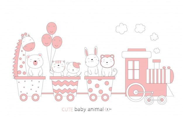 Dessin animé esquisse le bébé animal mignon dans le train. style dessiné à la main.