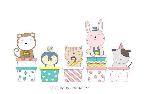 Dessin animé esquisse le bébé animal mignon sur le petit gâteau. style dessiné à la main.