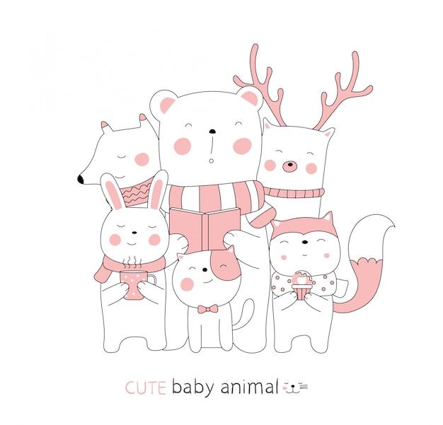 Dessin animé esquisse le bébé animal mignon. style dessiné à la main.