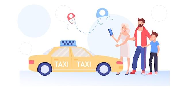Dessin animé famille caractères commander taxi