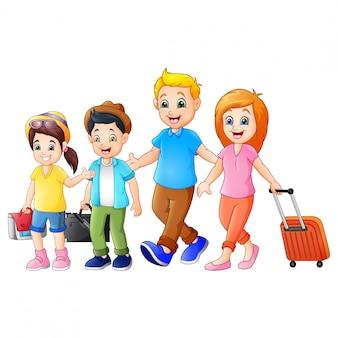 Dessin animé famille voyageant en vacances