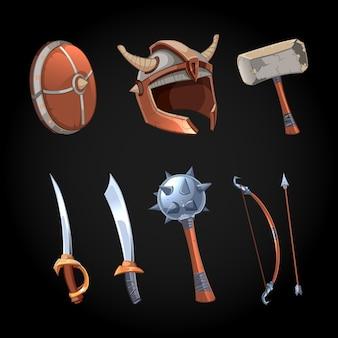 Dessin animé fantastique armes vector clipart ensemble. masse et poignard de puissance, collection ancienne