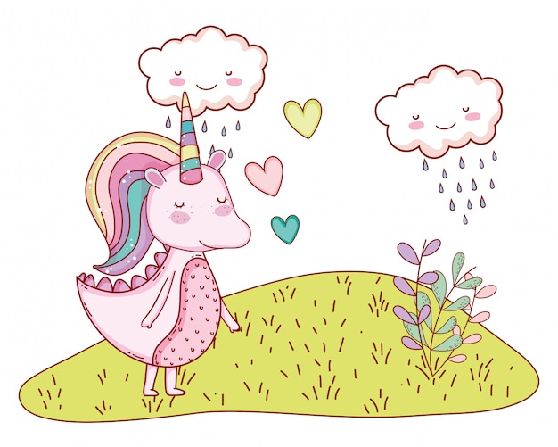 Dessin animé fantastique licorne