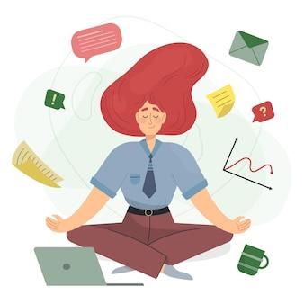 Dessin animé, femme affaires, méditer