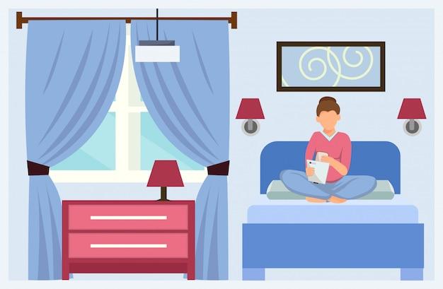 Dessin animé, femme, dans lit, hôtel, réservation appartement