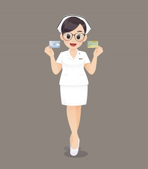 Dessin animé femme médecin ou infirmière portant des lunettes brunes en uniforme blanc
