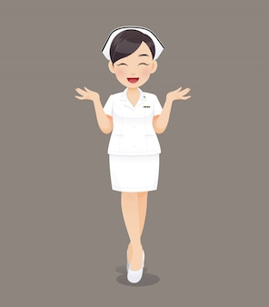 Dessin animé femme médecin ou infirmière en uniforme blanc, souriant personnel infirmier
