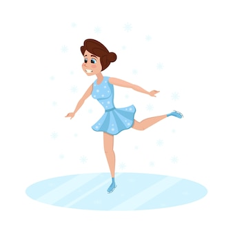 Dessin animé femme patinage artistique à sports ice arena