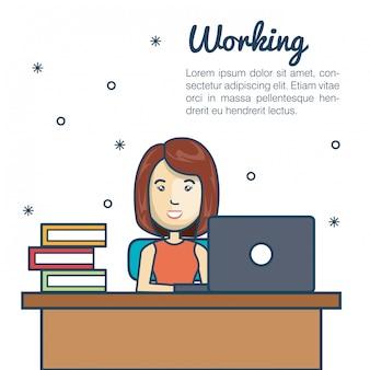 Dessin animé femme travaillant la conception de bureau d'ordinateur portable