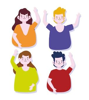 Dessin animé femmes et hommes ensemble personnages agitant les mains illustration vectorielle