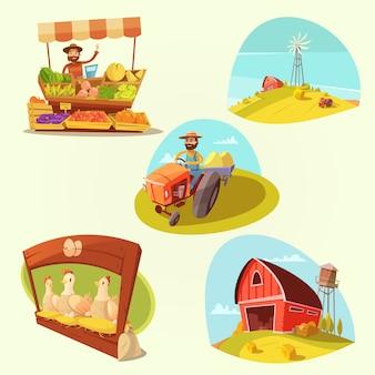 Dessin animé de ferme sertie d'agriculteur et de produits sur l'illustration vectorielle fond jaune isolé