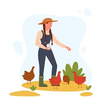 Dessin animé fermier éleveur femme personnage nourrit poule coq oiseaux domestiques, ranch d'élevage de volaille
