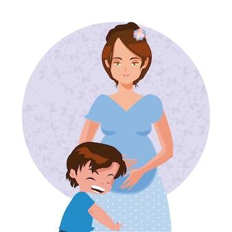 Dessin animé de la fête des mères heureux